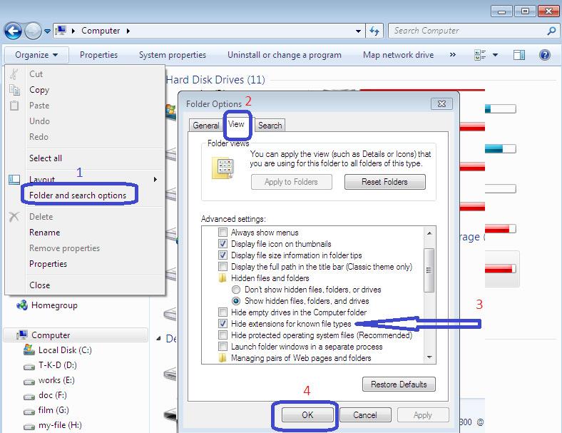 آموزش تغییر پسوند فایل در ویندوز نصب برنامه های اندروید