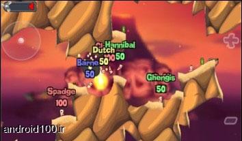 دانلود بازی اندروید بازی هیجان انگیز نبرد کرم ها Worms v0.0.95