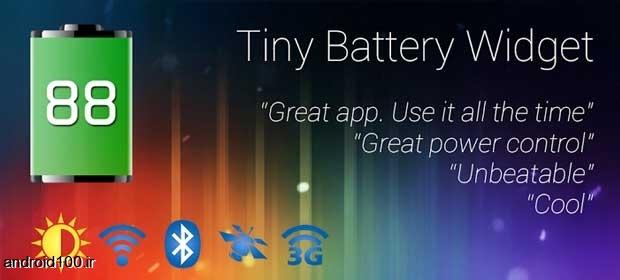ویجت ساخت میانبر از قسمت های پر استفاده گوشی برای اندروید Tiny Battery Widget